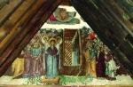 Фреска «Вознесение Господне» в восточном фронтоне храма. XVI век. Церковь Пресвятой Богородицы в Какопетрии.