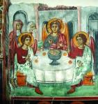 Фреска «Ветхозаветная Святая Троица» в алтарном пространстве. XVI век. Церковь Святого Иоанна Предтечи в Аскасе.