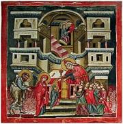 Фреска. Введение Марии во храм. XV в. Церковь Честного Креста Агиасмати