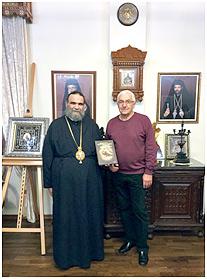 Митрополит Тамасоса и Орении Исайя и директор издательской компании Победимский Борис