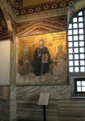 Христос с предстоящими императором Константином IX Мономахом и императрицей Зоей. 1034-1042 гг. Южная галерея. София Константинопольская